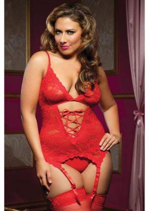Midnight Affair Cami Garters – Red Queen Size