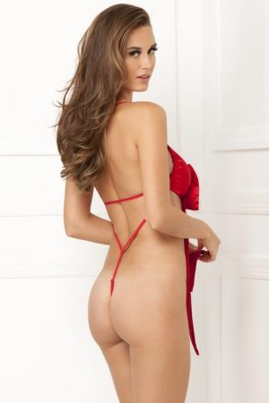 Red Satin Bow Teddie Lingerie